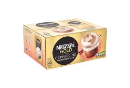 Nescafe Gold Cappuccino Instant Coffee Sachets Unsweetened Taste One Cup Contains Lactose (Pack of 50)