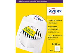 Avery (126 x 126mm) CD/DVD Paper Sleeves (White) Pack of 100