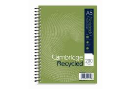 Cambridge (A5+) Notebook Wirebound Recycled 200 Pages 70g/m2 Punched 2-Holes Ruled Perforated Card Cover (Pack 3)