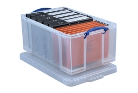 Really Useful (64 Litre) Storage Box Plastic Lightweight Robust Stackable (Clear)