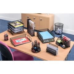 5 Star Office (Foolscap) Mesh Letter Tray 3 Tier Scratch Resistant Stackable Front Load Portrait (Black) Image