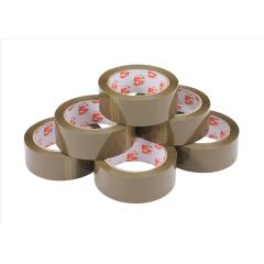 5 Star Office Packaging Tape Polypropylene 38mm x 66m Buff [Pack 6] Image