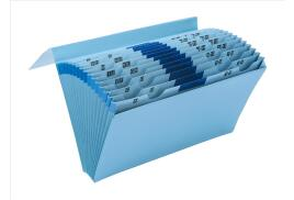 5 Star Office De Luxe Expanding File with Flap 16 Pockets A-Z 12 Months 1-31 Foolscap Blue