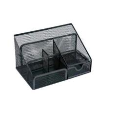 5 Star Office Desk Organiser Mesh Scratch Resistant with Non Marking Rubber Pads (Black) Image