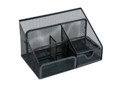 5 Star Office Desk Organiser Mesh Scratch Resistant with Non Marking Rubber Pads (Black)