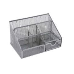 5 Star Office Desk Organiser Mesh Scratch Resistant with Non Marking Rubber Pads (Silver) Image