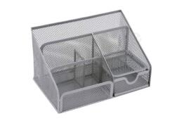 5 Star Office Desk Organiser Mesh Scratch Resistant with Non Marking Rubber Pads (Silver)