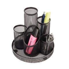 5 Star Office Pencil Pot Mesh Scratch Resistant with Non Marking Base 5 Tube (Black). Image
