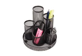 5 Star Office Pencil Pot Mesh Scratch Resistant with Non Marking Base 5 Tube (Black).