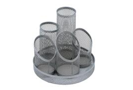 5 Star Office Pencil Pot Mesh Scratch Resistant with Non Marking Base 5 Tube (Silver).