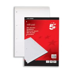 5 Star Office (A4) Refill Pad Headbound 60gsm Ruled Punched 4 Holes 160pp (Red) Pack of 10 Image