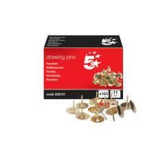 5 Star Office 5 Star (11mm) Brassed Drawing Pins of Head Diameter (Pack of 150) Image