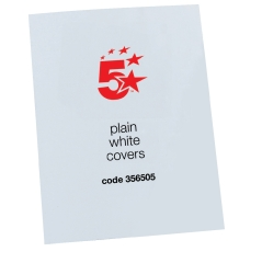 5 Star Office (A4) Binding Covers 250gsm Plain Gloss White [Pack 100] Image