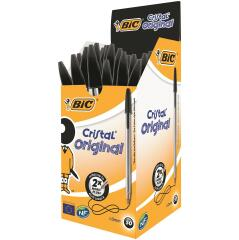 Bic Cristal Medium Ballpoint Pen 1.0mm Tip 0.4mm Line (Black) Pack of 50 Pens Image