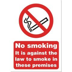 Stewart Superior SB003SAV Self-Adhesive Vinyl Sign (148x210mm) - No Smoking it is Against the Law to Smoke in These Premises Image