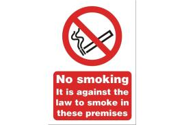 Stewart Superior SB003SAV Self-Adhesive Vinyl Sign (148x210mm) - No Smoking it is Against the Law to Smoke in These Premises