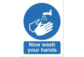 Stewart Superior NS022 Self-Adhesive Vinyl Sign (150x200mm) - Now Wash Your Hands
