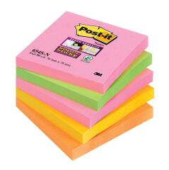 Post-It Post-it (76 x 76mm) Super Sticky Notes Neon Rainbow (Assorted Colours) 5 x 90 Sheets Image