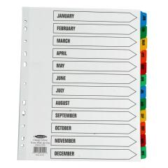 Concord (A4+) Index January-December Multipunched Mylar-Reinforced Multicolour-Tabs 150gsm Extra Wide (White) Image
