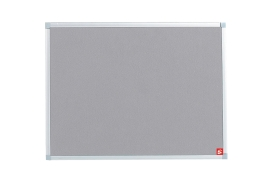 5 Star Office 900 Felt Noticeboard with Fixings and Aluminium Trim (Grey)