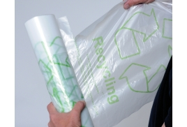 Acorn Green Bin Liners Capacity 60 Litres Clear and Printed (Pack of 50)