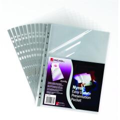 Rexel Nyrex Presentation (A4) Top and Side Presentation Pocket (Clear) Pack of 25 Pockets Image
