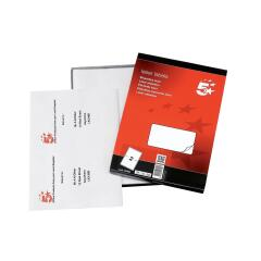 5 Star Office Multipurpose Laser Labels 2 per Sheet 199.6x143.5mm (White) Pack of 200 Labels Image