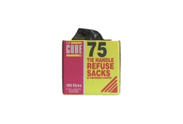 Robinson Young Le Cube Refuse Sacks with Tie-Handle Black (Pack of 75)