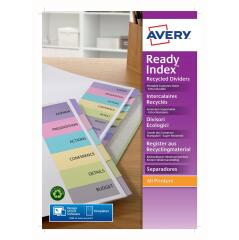 Avery ReadyIndex (A4) Dividers with Coloured Contents Sheet Matching Mylar Tabs 1-6 Image