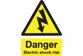 Stewart Superior Safety Sign Danger Shock Risk (200x150mm) Self-adhesive Vinyl