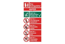 Stewart Superior FF091SAV Self-Adhesive Vinyl Sign (100x200mm) - Water Fire Extinguisher
