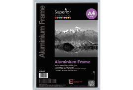 Unbranded Photo Frame (A4) Clip-Down Aluminium with Non-Glass Perspex Front Back Loading 220x21x307mm (Silver)