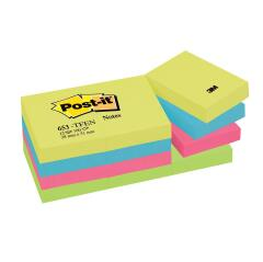 Post-It Post-it Tutti Frutti 653 Sticky Notes Repositionable 38x51mm Warm Neon Rainbow 12 x 100 Sheets Image