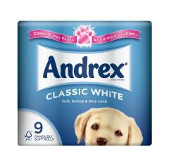 Andrex Toilet Rolls 2-Ply 240 Sheets Classic White (1 x Pack of 9 Rolls) Ref M01377 Image