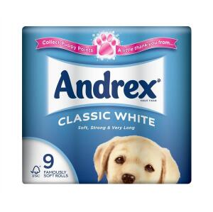 Andrex Toilet Rolls 2-Ply 240 Sheets Classic White (1 x Pack of 9 Rolls) Ref M01377