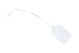 Unbranded Strung Tickets Durable (46mm x 30mm) White 1 x Pack of 1000