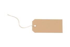 Unbranded Strung Tags (108mm x 54mm) Buff (1 x Pack of 1000)