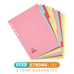 Elba (A4) Card Dividers Europunched 10-Part Assorted  Image