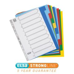 Elba (A4) Polypropylene Dividers Europunched 10-Part Multicoloured  Image