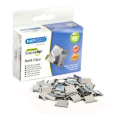 Rapesco Supaclip 40 Refill Clips for 40 Sheets of 80gsm Stainless Steel (Silver) Pack of 200 Image