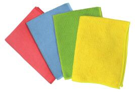 5 Star Facilities Microfibre Cleaning Cloths Colour-coded for Dry or Damp Multi Surface Use Red (Pack of 6)