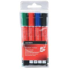 5 Star Office Drywipe Marker Xylene/Toluene-free Bullet Tip 2mm Line Assorted [Wallet 4] Image