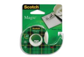 Scotch Magic (19mm x 25m) Low Noise Invisible Tape (Clear) with Compact Dispenser