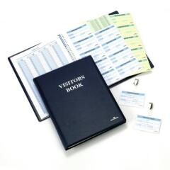 DURABLE Leather Look Visitors Book with 300 Badges Inserts Image