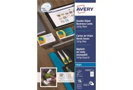 Avery Quick&Clean Double Sided Matt Inkjet Business Cards (White) Pack of 200 Cards