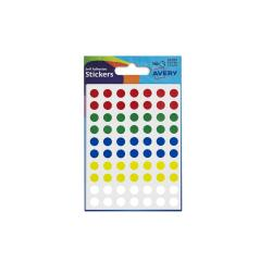 Avery (8mm) Self Adhesive Dot Stickers (Assorted Colours) 560 Labels-Cards/Package Image