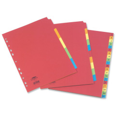Concord Bright Subject Dividers Europunched 10-Part Extra Wide A4 Assorted Ref 52299 Image