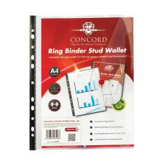 Concord Ring Binder Stud Wallet Reinforced Spine A4 (Clear) Pack of 5 Image