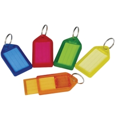 5 Star Facilities Sliding Key Fob Coloured Large Label Area 51 x 33mm 25mm Ring Assorted (Pack of 10) Image