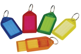 5 Star Facilities Sliding Key Fob Coloured Large Label Area 51 x 33mm 25mm Ring Assorted (Pack of 10)